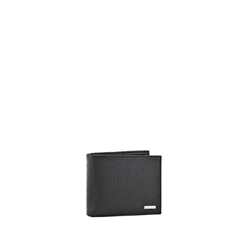 Portafoglio in pelle nero per uomo, marchio francese Lacoste