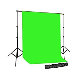 CowboyStudio Photography 10 X 12ft Chromakey Green Muslin Backdrop with Support System and Carry Bag