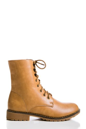 Lace Up Faux Leather Boots in Taupe