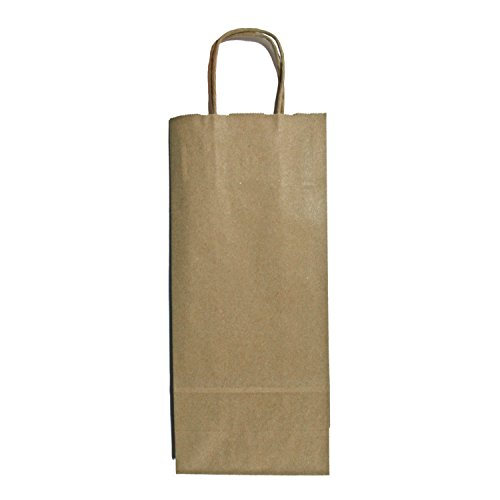 Wine Bottle Kraft Bags With Handles And White Round Gift Tags, Set Of 12, 13 X 5.5 X 3 Inches, Medium front-404949
