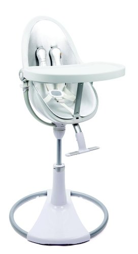 bloom White Fresco Chrome High Chair in Lunar Silver