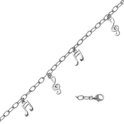 Lovely Sterling 925 Silver Link Bracelet with Musical Note Designed Charms & Lobster Claw Clasp(WoW !With Purchase Over $50 Receive A Marcrame Bracelet Free)