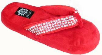 Image of Yellow Box Slippers Happy Red Ladies Sequins Flip Flops (B00418D14Y)