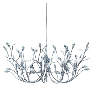 Willow Chromed Finish Pendant With Crystal Leaves And 9 Halogen 10 Watt Lamps