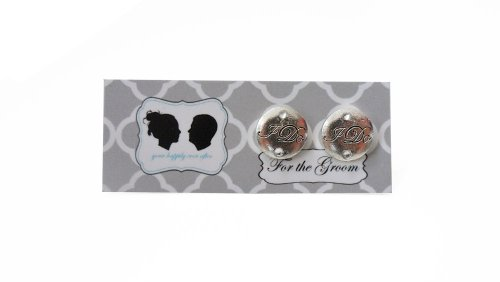 Grooms I DO Cufflinks with Colored Crystal-Silver Charm-Silver Stone