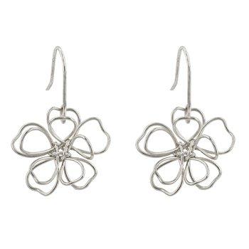 Silvertone Floral Earring Set