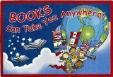 "Joy Carpets Kid Essentials Language & Literacy Oval Books Can Take You Anywhere Rug, Sky Blue, 10'9"" x 13'2"""