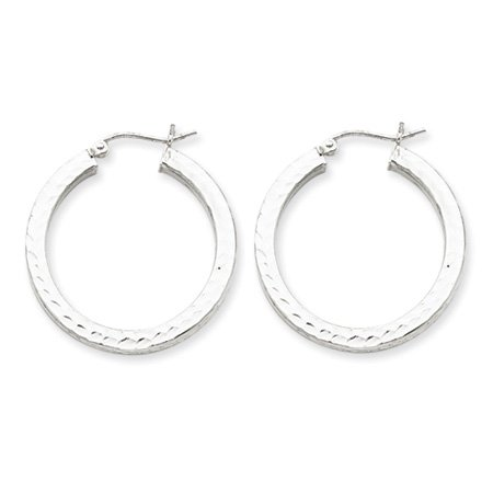 3mm, Diamond-cut, Silver Square Hoops - 20mm (3/4