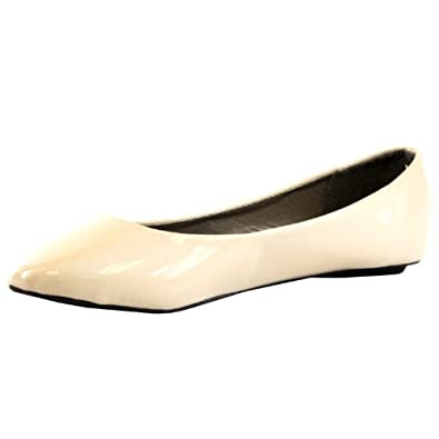 West Blvd Womens BALLET Flats Slip On Shoes Ballerina Slippers, Beige Patent, US 5