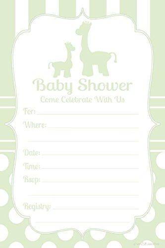 Giraffe Gender Neutral Baby Shower Invitations - Fill In