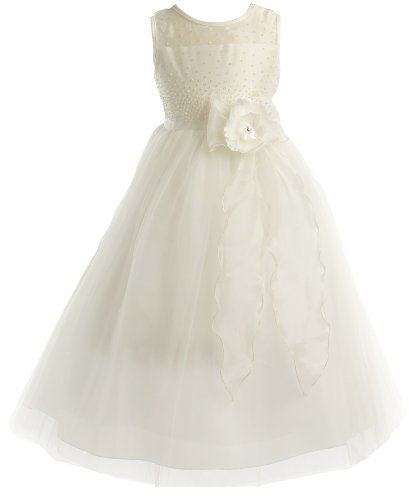 Peek-A-Boo Pearl Bodice Communion Flower Girl Pageant Long Dress - Ivory 8
