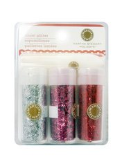Martha Stewart Crafts - Valentine - Tinsel Glitter Embellishment Variety - 3 Piece Set with Glue