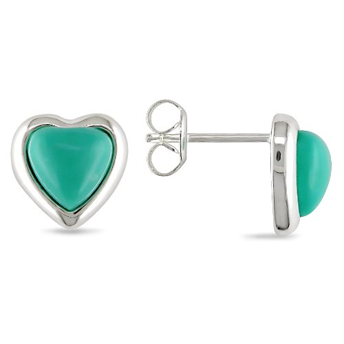 Sterling Silver Heart Shape Turquoise Earrings