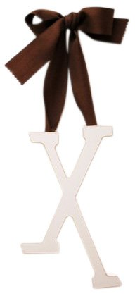 New Arrivals Wooden Letter X with Solid Brown Ribbon, Cream
