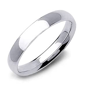 Sterling Silver Plain Wedding Band Ring 4mm - Size 9