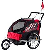 Child 3 In 1 Folded Bike Trailer Stroller Jogger Seat Buggy Lightweight Red Black 1-2 Child 5 Point Harness With Canopy Visible Flag
