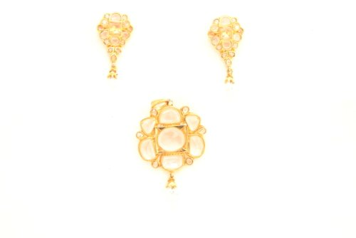 Fashion Balika Fashion Jewelry Gold-Plated Pendant Set For Women Gold-BFJER117 (Yellow)