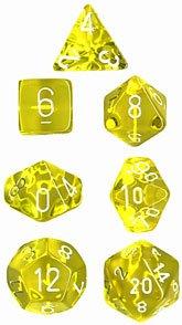 CHESSEX TRPGダイス/サイコロ Translucent Polyhedral(多面体) Yellow w/white 7個セット