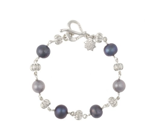 Dower  &  Hall, Pearlicious - Solid Sterling Silver Pumpkin Bead  &  Grey Mix Freshwater Pearl Bracelet