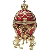 Royal Red Faberge Style Collectible Enameled Egg (6011-1)