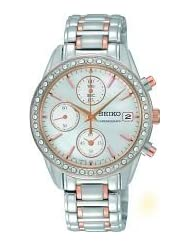 Seiko SNDY18P9 Chronograph Stainless Steel Rose Gold Two Tone Stone Set Bracelet Watch