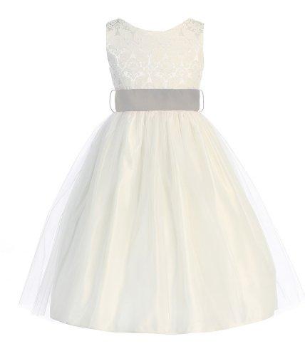 Sweet Kids Girls Jacquard & Tulle Dress ~ 2 Off Wht Plat Grey(Sk 394) front-10775