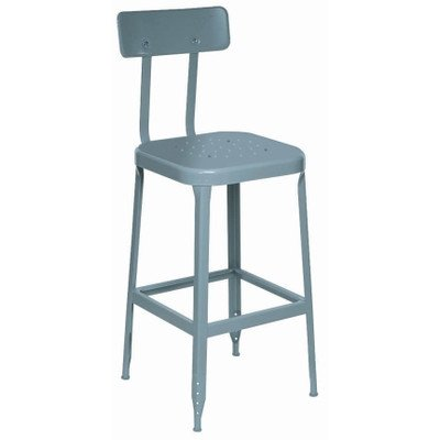 """Lyon Bb1706 All Welded Steel Seat Stool With Back, Black Rubber Feet And Steel Glide, 18"""" Height, 400 Lbs Capacity, Wedgewood Blue, (Pack Of 2) front-148711"""