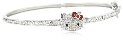 Simmons Hello Kitty gorgeous Czech crystal pave face Kings Road Red Ribbon luxury charm Bangle ladies [parallel import goods]