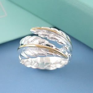 CosmoCow JE168 Stylish Ring, Silver Color Ring, Open Ring, Feather Ring
