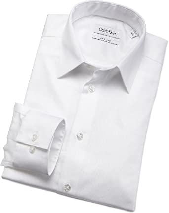 Calvin Klein Mens Body Dress Shirt, White, 14.5/32-33