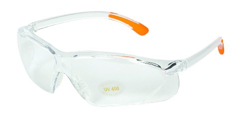 Allen Company Shooting Glass Eye Protection (Clear Frame with Orange Tips, Clear Lens)