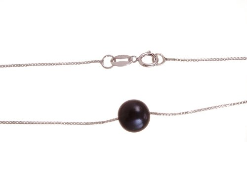 Black Pearl On Sterling Silver Chain (7.0-8.0 mm), 18