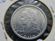 1964 Reunion 1 Franc Coin -- Almost Uncirculated