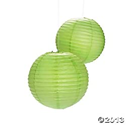 PrettyurParty Green Round Paper Lamps 16