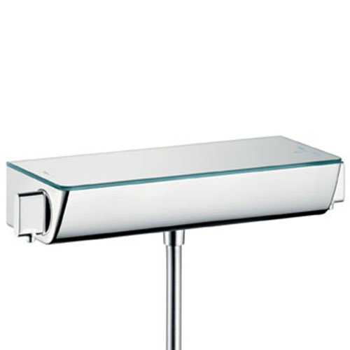 Hansgrohe 13161400, Miscelatore Termostatico Doccia Ecostat Select con Mensola di Sicurezza Bianco, Cromato