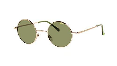 Occhiali da Sole Unisex Relax Rotonde Stile 'Lennon'/Polarizzato/R2317 (R2317D Oro / Lenti Verde)