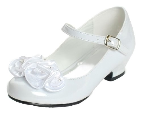 Mary Jane Shoes with Pretty Satin Rolled Rosettes Patent Leather-White-12-(LA5216) (Flower Girl Shoes White compare prices)