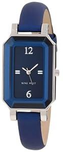 Nine West Women's NW/1315BLBL Silver-Tone Wall-to-Wall Crystal Cobalt Blue Strap Watch