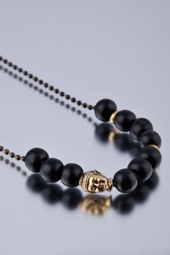 Dyoh Spiritual Jewelry Collection - 10mm Wood Beads with Buddha Charm Necklace