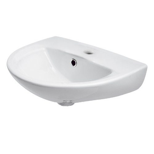 Trueshopping Sierra Bathroom En-suite 450mm Compact Small Wall Hung 1Tap Hole Wash Basin Sink