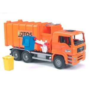Bruder Toys Man Side Loading Garbage Truck Orange