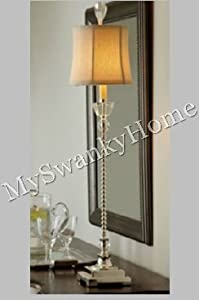 Elegant Slim SILVER CRYSTAL Buffet Table Lamp Tall Traditional