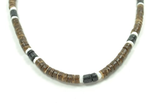 Hawaiian Brown Coco Surfer Necklace with White Shell and Black Coco Choker - 20