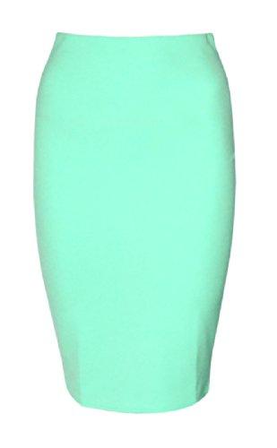 Womens Plain Scuba Midi Skirt (Sty) ((Us 4/6) Uk 8/10, Mint Green)