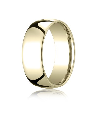 10K Yellow Gold, 8mm Slightly Domed Standard Comfort-Fit Ring (sz 9.5)