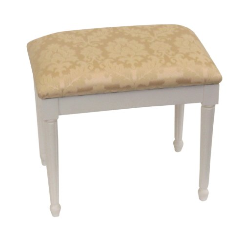 Cream Damask Top Dressing Table/Bedroom Stool with White Chatsworth Legs