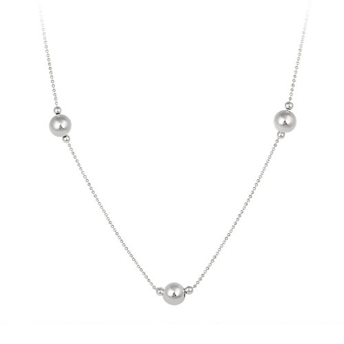 Sterling Silver Bead Necklace with Large Bead Stations, 30