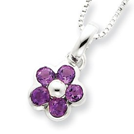 Sterling Silver Amethyst Flower Pendant and Box Chain 16 inch Necklace