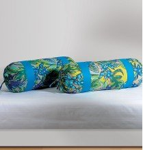 Swayam Drape And Dream Cotton 2 Piece Bolster Cover Set - Blue (BC02)