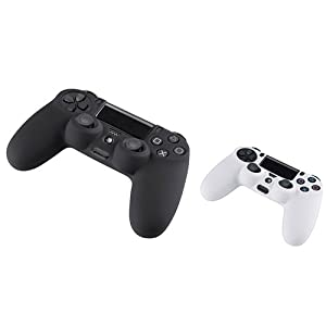 eForCity 2 Packs Silicone Controller Case Combo: Black / White Compatible with PlayStation 4 (PS4)